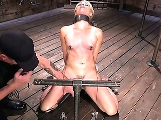 Perverse Dude Fuck Stick Fucks Spread Twat Of Crucified On The Floor Bitch Helena Locke