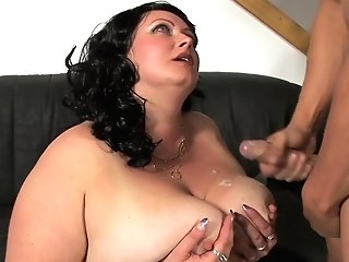 Huge-boobed Dark Haired Matures Mummy Andrea E. Gets Jizz On Her Fat Tits