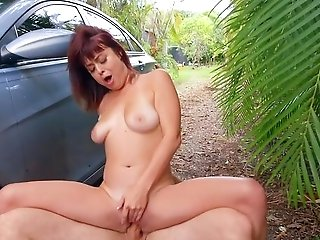 Matures Treats Youthful Stud's Tasty Dong While On The Road