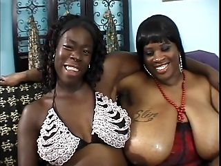 Two Black Fat Mummies With Gigantic Racks Gobble Slit And Fuck With Fucky-fucky Playthings