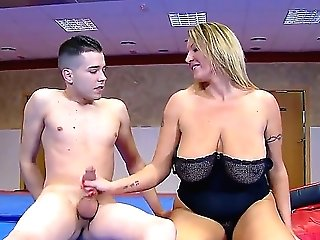 Blonde Mature Mummy Gives A Dude With A Big Man Rod