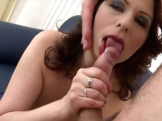 Big-boobed Dark Haired Damsel Gets Her Raw Twat Pounded By A Horny Stud