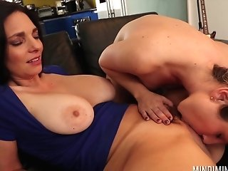 Black-haired All Girl Mindi Mink Devouring Her Honey's Dribbling Cunt