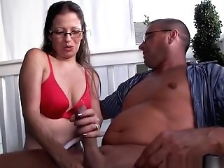Nerdy Matures Tugging Hubby Outdoor