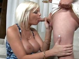 Milky Haired Lovely Mom Bares Her Massive Titties After Drinking
