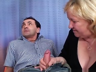 Large Old Grandmother Drinks Two Penises