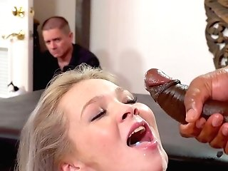 Blonde In Sexy Undergarments, Blacked In Front Of Her Dad