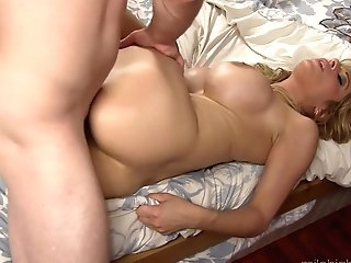 Blonde Hussy With Humungous Melons Loves Getting Her Love Tunnel Fucked By Hot Dude