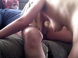 Old Bearded Man Gets Sucked Off By A Blonde Teenie