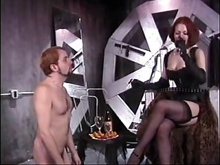 Milky Victim Dude Must Obey Hot Redhead Mistress In Leather Underwear And Garters
