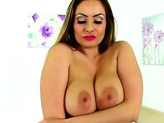Rigid Titted Cougar Karina From The Uk Frigs Her Fanny