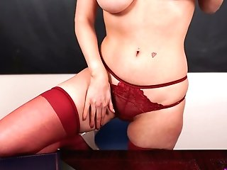 Jaw Pulling Down Crimson Haired English Tutor Lucy Alexandra Gets Naked On The Table