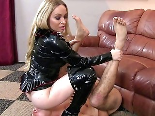 Lengthy Haired Blonde Mummy Aiden Starr In Black Mistress Clothing