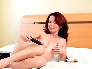 Alluring Ginger-haired Uses Gloved Palms To Fondle Her Twat Before Hot Fucktoy Have Fun