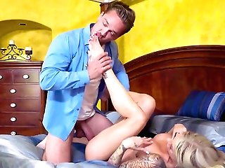 Huge-boobed Blonde Rough Encounter With Dick While In The Bedroom