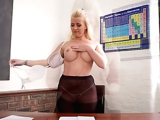 Chubby Blonde Nikki Lee Is Disrobing In The Office