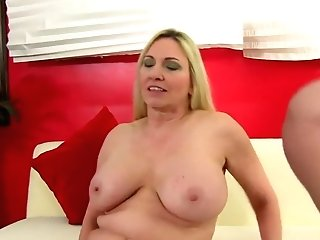 Voluptuous Blonde Cougar In Black Stockings Gets Fucked By A Youthful Stud