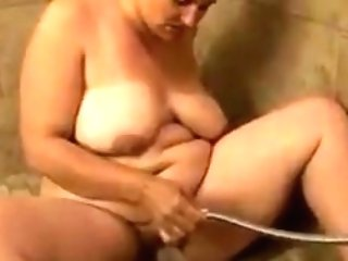 Chubby Matures Masturbating With Bathroom Water Jet