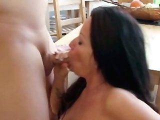 Step-son Caught Mom Naked In Kitchen