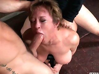 Master And His Counterpart Fuck Dee Williams In Dark And Cold Basement