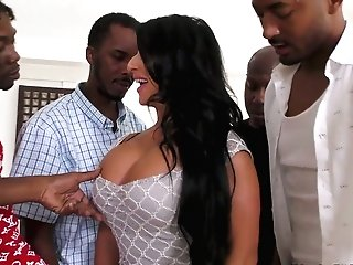 A Few Black Studs Fuck Mega Huge-chested Harlot Raven Hart And Cram Her Mouth With Sperm