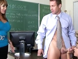 Big-titted Mummy Cumswaps With Student In Class