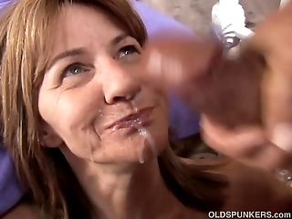 Timid Mature Unexperienced Luvs A Gooey Facial Cumshot Popshot