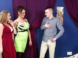 Youthful Lad Gags These Clothed Females Until They Guzzle