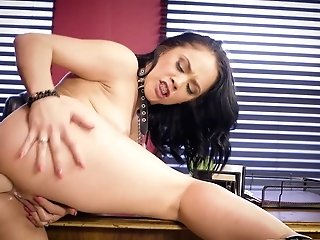 Lezzie Strap Dildo Ass Fucking In The Office With Kristina Rose