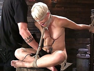 Tied Up Blonde Helena Locke Gets Her Tits And Honeypot Disciplined