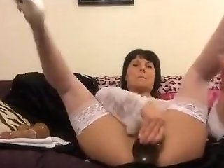 Horny Dark-haired Cougar Plays Her Beaver And Backdoor Sex W...