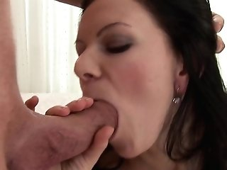 Dark-haired Has Some Time To Get Some Pleasure With Dude's Snake In Her Mouth