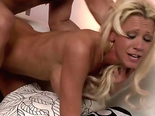 Light-haired Floozy Tanya James Takes Cum-shots On Her Massive Orbs