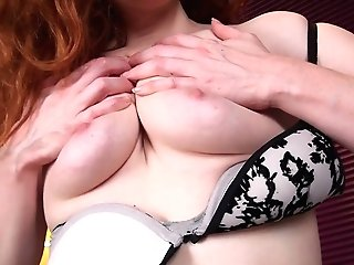 Crimson Haired Matures Woman Amy C Is Masturbating Her Outworn Out Hairy Twat