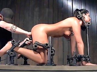 Mega-bitch Is Whipped In Rear End Device Bondage & Discipline