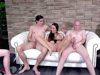 Mea Melone Entertains A Paramour And A Group Of Guys Jerking Off