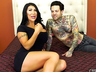 Faux-titted August Taylor Has A Tattooed Banger That Slams Her