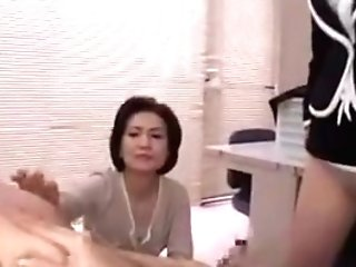 Three Sugary Asian Secretaries Witness A Horny Stud Strokin