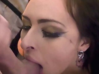 Cuffed Cougar Gives Messy Deep Throat And Gets Jizz Shot