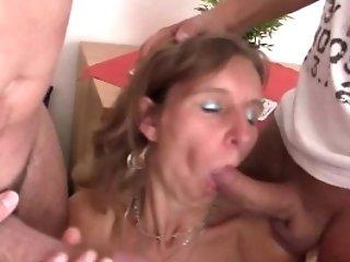 Adorable Granny Dual Fucked