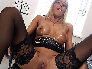 Nerdy Chesty Blonde Assistant Lana Vegas Oils Up Her Tits In The Office