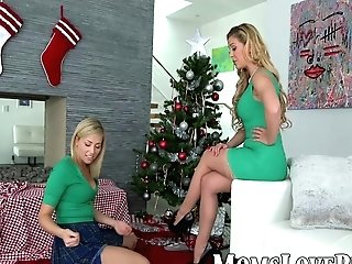 Lezzie Mom And Ultra-cute Stepdaughter Bang On Christmas Day
