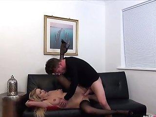 Stunning Blonde In Black Stockings Amber Jayne Goes Wild On A Hard Pole