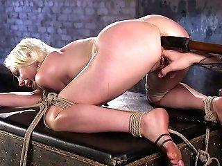 Stunning Ash-blonde Mummy Lorelei Lee Gets Her Twat Disciplined In The Dark Room