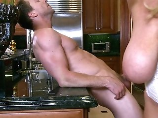 Huge-boobed Kelly Madison Rails On A Stranger's Fat Penis In The Kitchen