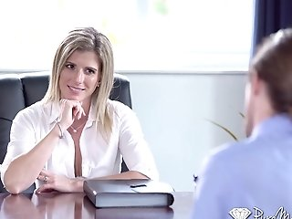 Bossy Cougar Cory Chase Is Masturbating Cooter And Fucking One Of Her Employees