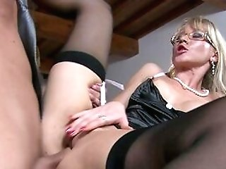 Blonde Matures Fucks On A Table With Her Own Step Sonny