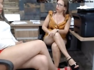 Two Matures Office Foot Worship Sexy Gams Stilettos