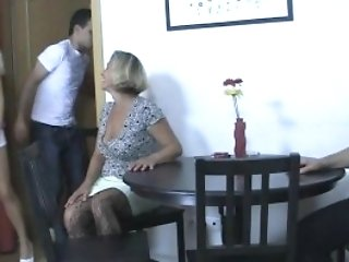 Blonde Doll Involved Into 3some With His Olds
