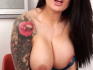 Brit Bombshell Charlie Atwell Takes Off Her Clothes And Shows Off Fuckbox In The Office